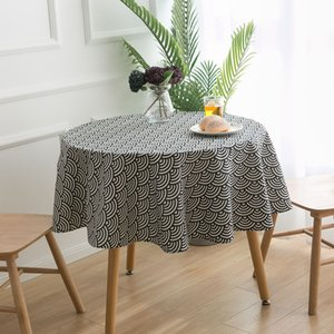 Cotton Linen Janpan Style Wave Printed Round Tablecloth Navy Blue Table Cover Decoration for Dining Table Party Banquet Outdoor