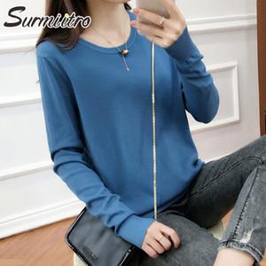 SURMIITRO S-2XL 2020 Herbst Winter gestrickte Frauen Pullover koreanische Frauenkleidung Langarm-Pullover Pullover weiblich Strick