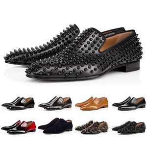 2019 ACE Luxury Bottom Designer Red Bottoms 박힌 스파이크 Brand 망 캐주얼 Dress Shoes 가죽 Men Women Party Lover 운동화