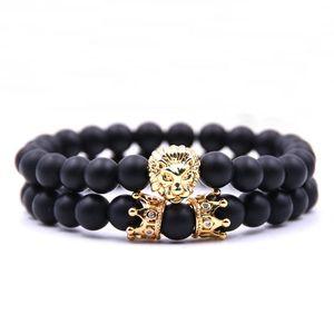 2019 venta caliente de moda pulseras de la corona conjunto de joyería Lion Head Bangles Buddha Beads Charm Bracelet envío gratis