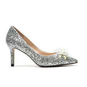 2019 fashion T show women super star dress shoes Kitten heel Crystal Glitter Cinderella pumps girls party paillette silver Wedding shoes