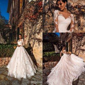 2019 New Romantic Lace Brautkleider Rundhalsausschnitt Sheer Long Sleeves Hochzeit Brautkleider Spitze Appliziert A Line Tüll Brautkleider