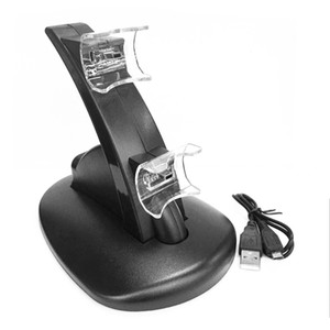 Freeshipping 미니 LED 라이트 빠른 듀얼 USB 충전 도크 스탠드 충전기 플레이 스테이션 3 PS3 컨트롤러 콘솔 블랙 USB 케이블