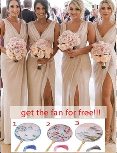 Günstige Champagner Brautjungfernkleider Chiffon tiefer V-Ausschnitt Front Side Split Plus Size Mädchen des Ehrenkleid Wedding Guest Kleid BC0219