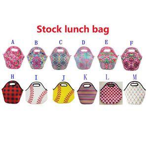 Neopren Öğle Çanta Beyzbol Baskı Su geçirmez Gıda İçecek Bento Box Bez Çantalar Piknik Öğle 12 Stil