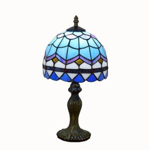 Vetrate Lampade da tavolo Tiffany luce dello scrittorio minimalista soggiorno camera da letto Bedside Lamp Tiffany illuminazione Griglia blu
