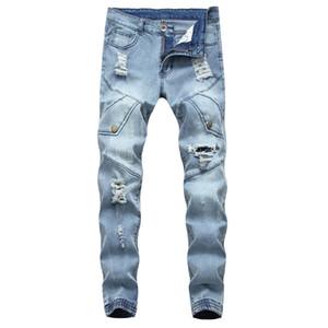 Hommes Biker Jeans Trou Déchiré Bleu Clair Couleur Bouquet De Pieds Slim Fit Toute La Saison Casual Style Pantalon slim