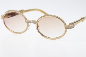 Luxo-Vintage Branco Genuine Natural Óculos 7550178 Menor Grandes Pedras Óculos de Sol Redonda Unisex designer de Alta final marca Óculos Quente
