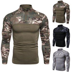 Stand Collar Long Sleeve Slim Tees Mens Fitness Running Top Mens Camouflage Designer Tshirts Casual Zipper