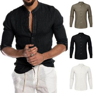 2020 Men's Shirts Stand Collar Short Sleeve Button Casual Tops Male Streetwear Loose Summer Breathable Shirt Chemise