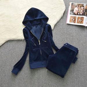 Primavera / Outono / Inverno de Mulheres Tecido de veludo Fatos Velour Suit mulheres de grande porte esportes veludo set manga longa zipper cl