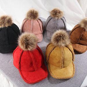 bambini cappelli di inverno delle ragazze dei ragazzi agnello velluto più caldo velluto berretti da baseball bambino di design di lusso cappelli secchio bambini delle ragazze del cappello di Snapback berretto