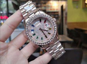 Importé Président de base inoxydable Iced Diamond Bezel Femmes Hommes Montre Automatique Montres Jour Date Montre Gold Day Date de Président regarder