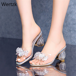 2020 PVC Jelly Sandals Women Crystal Peep Toe High Heels shoes Crystal Transparent Heel Sandals Slippers Pumps Women Shoes B164 Y200702