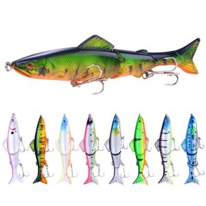 8pcs Lot 13cm 18g 3 Segments Fishing Lure Set Kit Bass Pike Hard Bait Artificial Wobblers Treble Hook Bionic Swimbait
