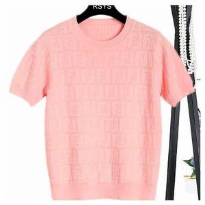 2020 Les nouvelles manches courtes de soie sur glace féminin d'été à tricoter mode style simple expédition en vrac libre t-shirts section mince