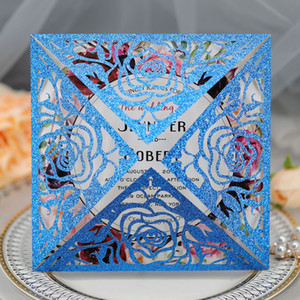 2020 New Wedding Glitter Rose Invitation Cards Laser Hollow Out Glitter Jewelry Blue Business Invitations Card By DHL Hot Selling