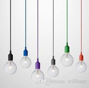 Art Decor Silicone E27 Pendant Lamp Ceiling light bulb Holder Hanging lighting Fixture base Socket Modern silica gel retro Colorful light