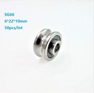 50 pz / lotto SG66 6x22x10mm U groove cuscinetto a rulli rullo ruota puleggia cuscinetto a sfere guida pista 6 * 22 * 10mm