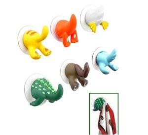 Sevimli Karikatür Güzel Hayvan Kuyruk Kauçuk Sucker Kanca Ev Ofis Kullanımı 6 Renkler Anahtar Havlu Askı Duvar Holder Hook