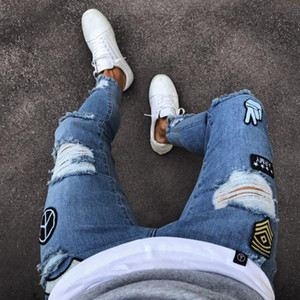 New Mens Buraco bordado Magro Mens calças jeans de luxo mens jeans de marca calças Sweatpants Sólidos