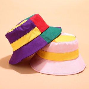 Yeni Tersinir Kepçe Hat Kadın Yaz pamuk geniş Disket şapka Moda Hediye Golf Plaj Cap Geometrik Bucket ağzına