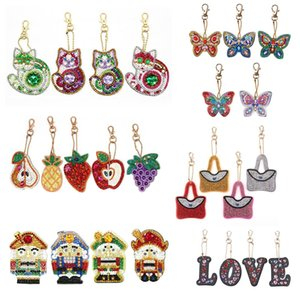 Needle Arts & Craft Cross Stitch DIY Full Drill Diamond Painting Keychain Cartoon Animals Love Heart Key Ring Diamond Painting