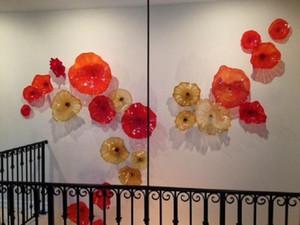 Modern Tasarım Cam Duvar Sanatı Custom Made Tabaklar El Cam Duvar Tabaklar Asma Üflemeli Üflemeli Cam Çiçek Duvar Sanatı Üflemeli