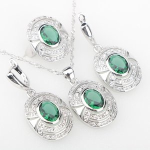 Charms Green Wedding Jewelry Sets Cubic Zirconia White Stones Silver 925 Jewelry Sets Earrings Pendant Necklace Rings For Women Punk Style