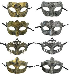 Maskerade Masken Vintage antike Männer venezianischer Masken Erwachsene Halloween-Party-Karneval Altgold silbrig Verschiedene Arten Maske