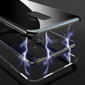 E Adsorption Case For Magnetic Samsung Galaxy S8 S9 Plus Note 8 S7 S7 Edge Tempered Glass Back Cover Luxury Metal Bumper Case