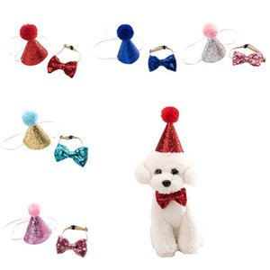 Dog Birthday Hat Bowknot Tie Shiny Dog Cat Headband Christmas Party Decoration Pet Dog Headwear Birthday Costume Pet Accessories