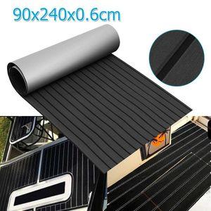 EVA mousse Pont en teck Feuille auto-adhésif Bateau Yacht synthétique platelage en mousse Tapis de sol noir avec bandes gris 90x240x0.6cm