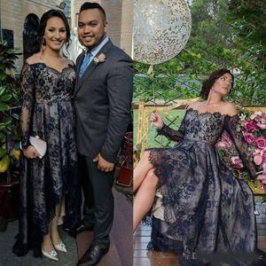 Black Off The Shoulder Plus Size Prom Dresses Lace Applique Evening Gowns Hi Lo Party Dress