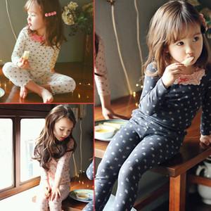 Syue Lua Meninas Pijamas Define Kids Love FlowerPattern Pijamas Crianças 100% algodão Pijamas Baby Boy Homewear Pijamas Roupa CJ191202