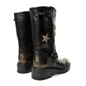 John May ck Women's Boot T235 Lella T-Progetto Toffy Nero-Oro Ric Oro