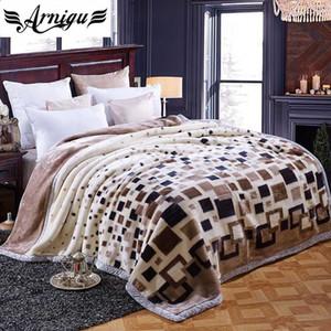 ARNIGU moda plaids imprimir mantas gruesas 150x200 cm 180x220 cm 200x230 cm doble cara Raschel manta invierno cama hoja caliente tiro
