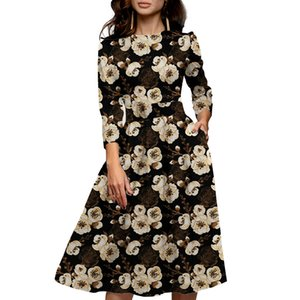 2020 summer women's printed seven-point sleeve black elegant A- word dress
