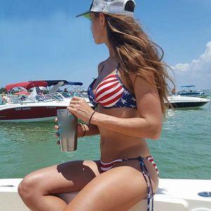 Сексуальное бикини женщины купальники американский флаг шнуровка полоса летний пляж бикини купальник бикини набор