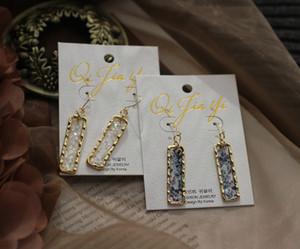 Atacado-Art brincos de flash Shard Azul Branco Translúcido Retângulo Continental Ear Hook brincos feminino brincos