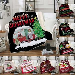 18 أنماط غطاء عيد الميلاد 3D الطباعة سميكة شيربا الصوف عيد ميلاد سعيد بطاطين الاطفال الكبار شال صوفا رمي بطانية