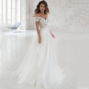 Smileven do vestido de casamento fora do ombro Appliqued vestidos de noiva A Linha do casamento elegante do laço vestidos de noiva 2019 T200525