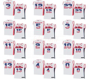 NCAA 2020 Ole Miss rebeldes 14 Collum 4Tyree 10Curry 2Shuler 5Buffen 23Hunter basketball jerseys College White Stitched National flag Jersey