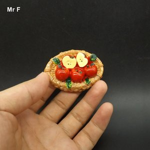Exquisite Flat Back Resin Model Five Apple On The Basket Simulation Food Toy