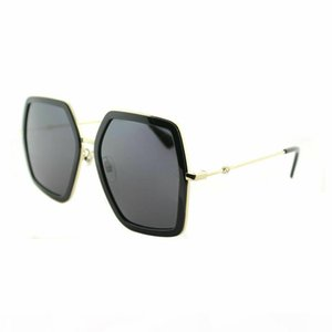 New Womens 0106S 001 Gold Black Metal Square Sunglasses Grey Lens Sun glasses Black Women Sunglasses with case New with tags box