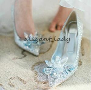 Cenicienta zapatos europeos de la boda Rhinestone femenino zapatos de cristal estilete puntiagudo zapatos nupciales rojos moda dama de honor tacón alto