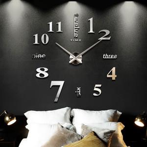 2019 New Home Decoração grande espelho Relógio de parede design moderno 3d Diy Grande decorativa Wall Clocks relógio de parede presente original T191029