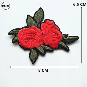 10 PC를 / 많은 장미 꽃 Parches 의류 DIY의 주제 줄무늬 옷 놓은 철에 패치 스티커 사용자 정의 배지 @Q로 사진