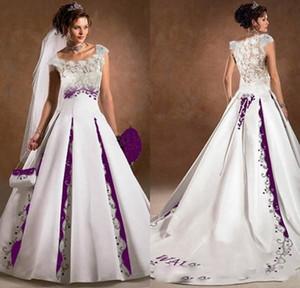 Фиолетовый и белый свадебное платье линия атласные кружева вышивки суд Поезд 2019 Luxury Capped рукава Scoop Люкс Свадебные платья