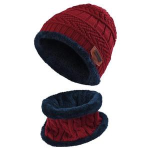 Crianças Meninos Meninas Aqueça Cap Beanie Gorro de Lã Inverno e Scarf Set com Fleece Hat Forro por Mulheres Homens